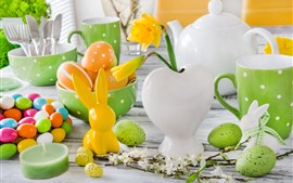 Preview wallpaper Easter, candles, colorful eggs, rabbit, kettle, cups