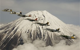 Preview wallpaper Fuji Mountain, volcano, fighters flight