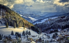 Preview wallpaper Germany, winter, snow, trees, mountains, village, road