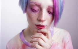 Chica, maquillaje, pelo colorido, cara