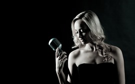 Preview wallpaper Girl, microphone, singer, black background