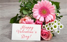 Preview wallpaper Happy Valentine's Day, gerbera, rose, flowers, romantic