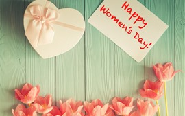 Preview wallpaper Happy Women's Day, tulips, love heart gift