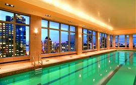 Interior, piscina, janelas, hotel, luzes