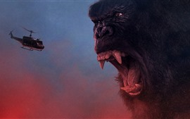 Preview wallpaper King Kong: Skull Island, angry, helicopter