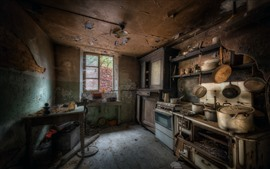 Kitchen, dust, window, table, ruins