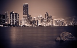 Miami, Florida, night, city, skyscrapers, river, lights, stone, USA
