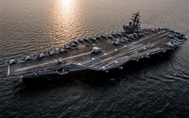 Preview wallpaper Navy, ship, aircraft carrier, sea