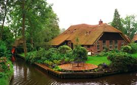 Нидерланды, деревья, цветы, дом, сад, река