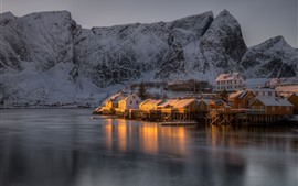 Preview wallpaper Norway, The Lofoten Islands, houses, snow, sea, mountain, dusk, winter