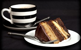 Preview wallpaper One slice chocolate cake, cup