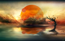 Preview wallpaper Planet, lake, tree, sun, creative picture