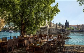 Prague, Czech Republic, cafe, tables, chairs, river, bridge