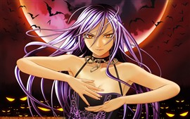 Preview wallpaper Purple hair anime girl, bat, moon