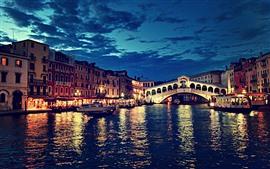 Puente de Rialto, Venecia, Italia, Noche, Río, Puente, Luces