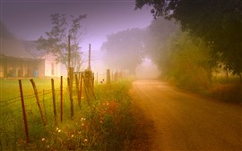 Preview wallpaper Road, countryside, house, fog, morning, trees, fence