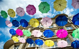 Preview wallpaper Some colorful umbrellas, house, city