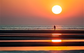 Preview wallpaper Sunset, fisherman, dusk, seaside, sea, silhouette