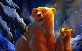 Two bears, happy, snow, trees, winter, art picture