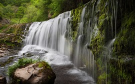 Preview wallpaper UK, waterfall, water, stones, trees, moss