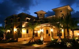 Villa, Luces, Casa, Palmeras, Noche