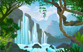Waterfall, trees, mountains, vector picture