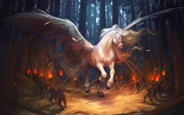 White horse, wings, forest, fantasy, art picture