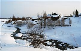 Invierno, Nieve, Árboles, Casas, Pueblo, Río