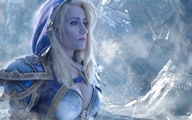 Preview wallpaper World of Warcraft, blue eyes girl, blonde, snow