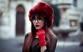 Preview wallpaper Young girl, hat, long hair, street