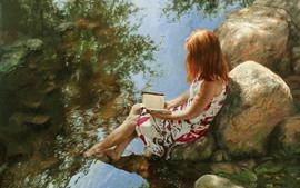 Vorschau des Hintergrundbilder Kunstmalerei, Mädchen, Buch, Steine, Bach, Wasser