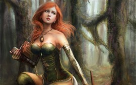 Preview wallpaper Beautiful fantasy girl, red hair, forest, book