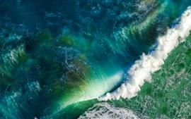 Aperçu fond d'écran Mer bleue, vagues, eau, mousse, vue de dessus