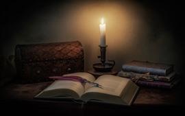 壁紙のプレビュー 本、キャンドル、炎、ペン、静物