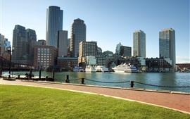 壁紙のプレビュー ボストン、マサチューセッツ州、市、川、高層ビル、アメリカ合衆国