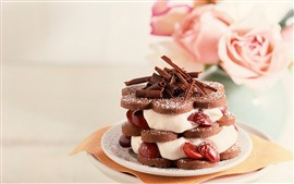 壁紙のプレビュー ケーキ、クリーム、チョコレート、バラ、デザート