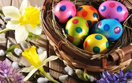 Preview wallpaper Daffodils, Easter, colorful eggs, nest