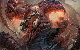 Preview wallpaper Dragons of Eternity, girl, dragon, warrior, axe, art picture