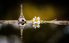 壁紙のプレビュー エッフェル塔の装飾、白い花、水
