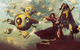 壁紙のプレビュー ファンタジーの女の子、攻撃、ロボット