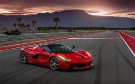 Preview wallpaper Ferrari Laferrari red supercar, side view, road, dusk