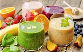 Aperçu fond d'écran Quatre tasses Smoothies, boissons aux fruits, colorées