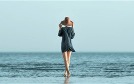 Preview wallpaper Girl, back view, legs, hat, sea