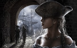 Preview wallpaper Girl, face, braid, hat, ship, art picture