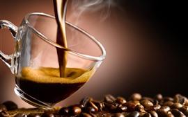 Preview wallpaper Hot coffee, foam, steam, coffee beans