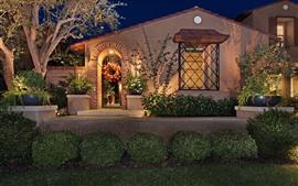 预览壁纸 房屋,别墅,夜晚,灯光,花园