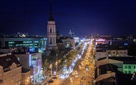Kaluga, Russia, city, lights, night, road