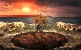 Preview wallpaper Lonely tree, small island, sea, waves, sunset