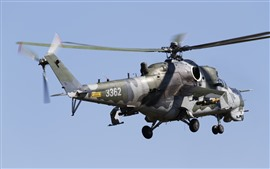 Aperçu fond d'écran Hélicoptère Mi-35, vol, ciel