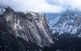 Mountains, snow, fog, clouds, winter
